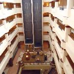 View of hotel lounge/lobby area from top floor