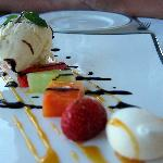 Perfect ending with fruit platter and vanilla ice-cream, just like a piece of art