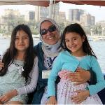 Rasha with my children on a felucca.