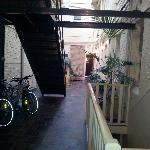 The courtyard with our bikes