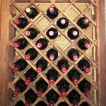 Wide selection of vintage wines on the wine rack