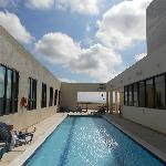 Pool area on the roof of hotel