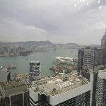 day view of the harbor and Kowloon from suite