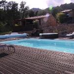 View of cabins and pool