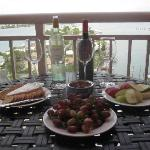 Wine and Cheese on our balcony