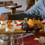 Fresh goat cheese, fruits and pickled vegetables