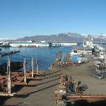 View of Mount Esja and Reykjavik Marina from our hotel room