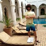 our hairy friend Eric near the pool