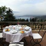 Breakfast at our terrace overlooking the bay