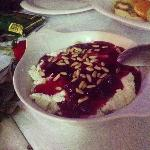 cottage cheese with mulberry syrup