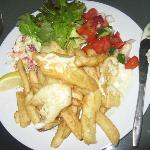 Whiting with chips and salad