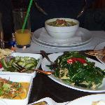 soup, spinach dish and other delectibles
