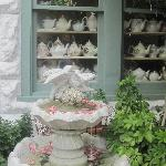 front out door area tea pots inside window
