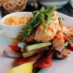 Grilled Norwegian Salmon with Mashed potatoes and grilled vegetables