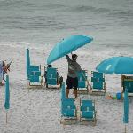 View of the beach - beautiful sand - Umbrella man is great - hard worker