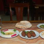 All our appertizers:  Hummus, Falafel, Kibbe, Baba Ghanoush, Eggplant in Olive Oil and Pita.