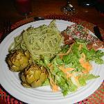Homemade dinner (pesto, pasta, artichokes) all from the garden