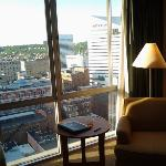 Nice furnishings and a lovely view of downtown and Mount Auburn