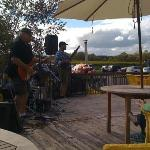 From the deck, band playing