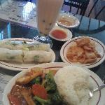 Spring Rolls, Veg and Tofu, Bubble Tea, crispy noodles