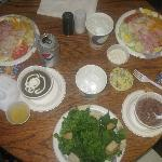 Chef's salads, Hungarian mushroom soup, potato salad, Caesar salad, and pinto beans