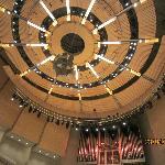 circular ceiling illuminates the hall