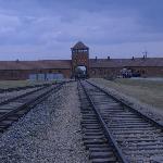 Entance to Auschwitz - Birkenau from inside camp