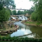 Walking bridge over Reedy River Falls