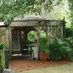 Gazebo with coffee in morning