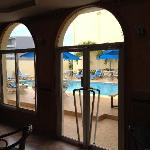 View of pool from restaurant