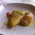 Starters - Digby Scallops Digby Scallops on Jicama fennel slaw Scallions Rice pancake, chilled l
