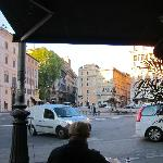 View from inside the deli/restaurant in Bernini Square. Fun to sit and  people watch.