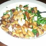 homemade whole wheat gnocci, pancetta, spinach