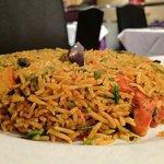 Chicken Tikka Biryani (stir fried chicken and rice dish)