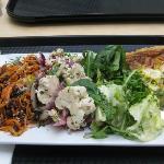 Quiche and three salads
