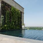 Rooftop infinity pool with black tiles