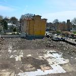 Empty construction terrain in front of hotel