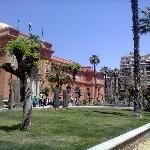 Front garden of Cairo museum - hotel in background on LHS
