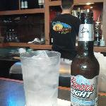 Enjoying a cold one at Blue Highway Pizza