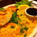 salmon teriyaki with shrimp fried rice