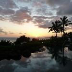 Sunrise over quiet pool
