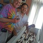 Chef Nar Bahadur Tamang shows off a deep freeze full of prime sirloin steaks