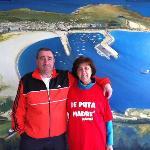 foto con fondo pintado de la playa de Laxe