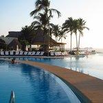 Boardwalk between the pools