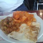 butter chicken, naan, and zucchini