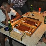 relaxing at night little game backgammon before heading out