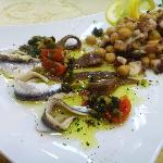 Salted and marinated anchovies in Dalmatian tapenade & Octopus and chick and pea salad