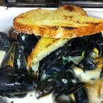 Moules mariniere with grilled bread