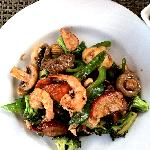"""""""Four Seasons"""" - pork, chicken, beef and shrimp with mixed veggies."""