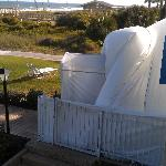 view from balcony of blowup dome covering outside pool